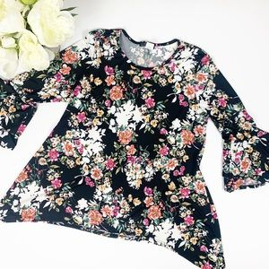 Floral Bell Sleeve Tunic